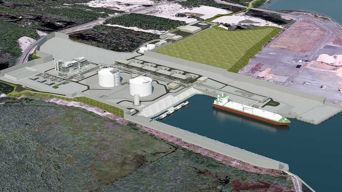 Jordan Cove rendering - Southwest view of the processing facility, marine slip and corridor